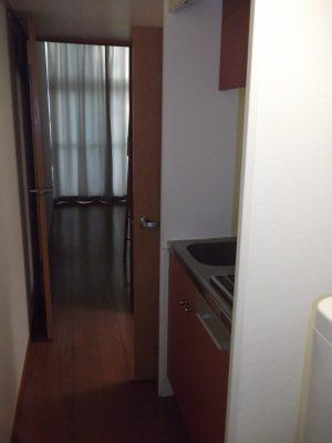 Вид из прихожей на коридор-кухню и вход в туалет