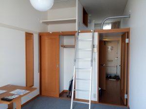 Общий вид комнаты. Обратите внимание на спальное место под потолком!